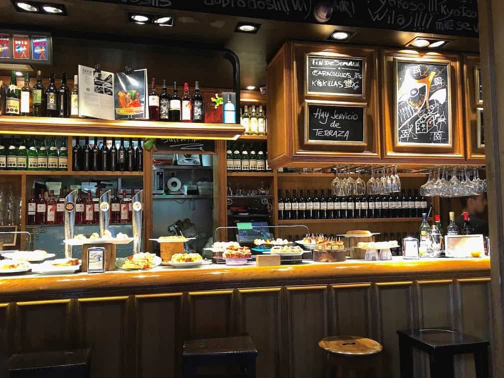 Pintxos are laid out for patrons in Bilbao bars.