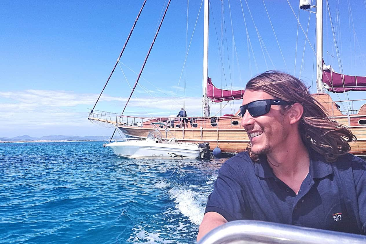 Captain Miguel with his beautiful wooden gulet on which we spent a week in Ibiza.