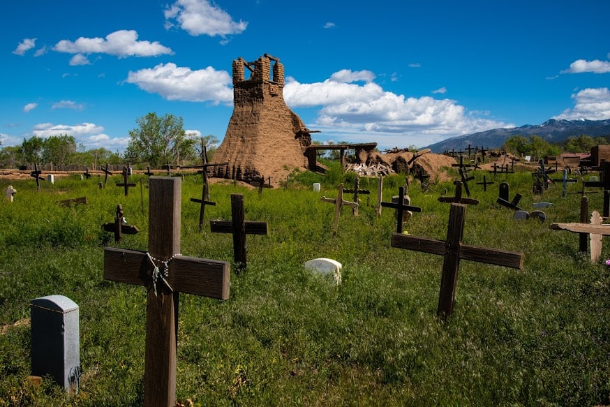 Remains of original mission and graveyard, Taos Pueblo.
