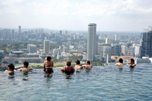 View from the world's largest infinity pool in Singapore