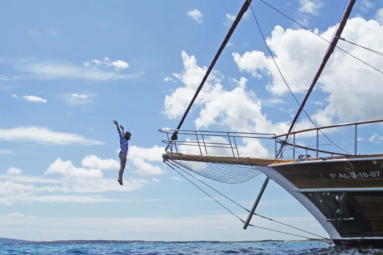 Jumping into the oh, so blue Mediterranean from the prow of the gulet.