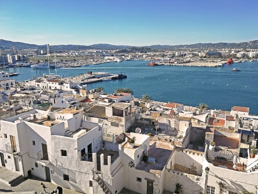 Overlooking the white buildings and marina area of Old Town, Ibiza