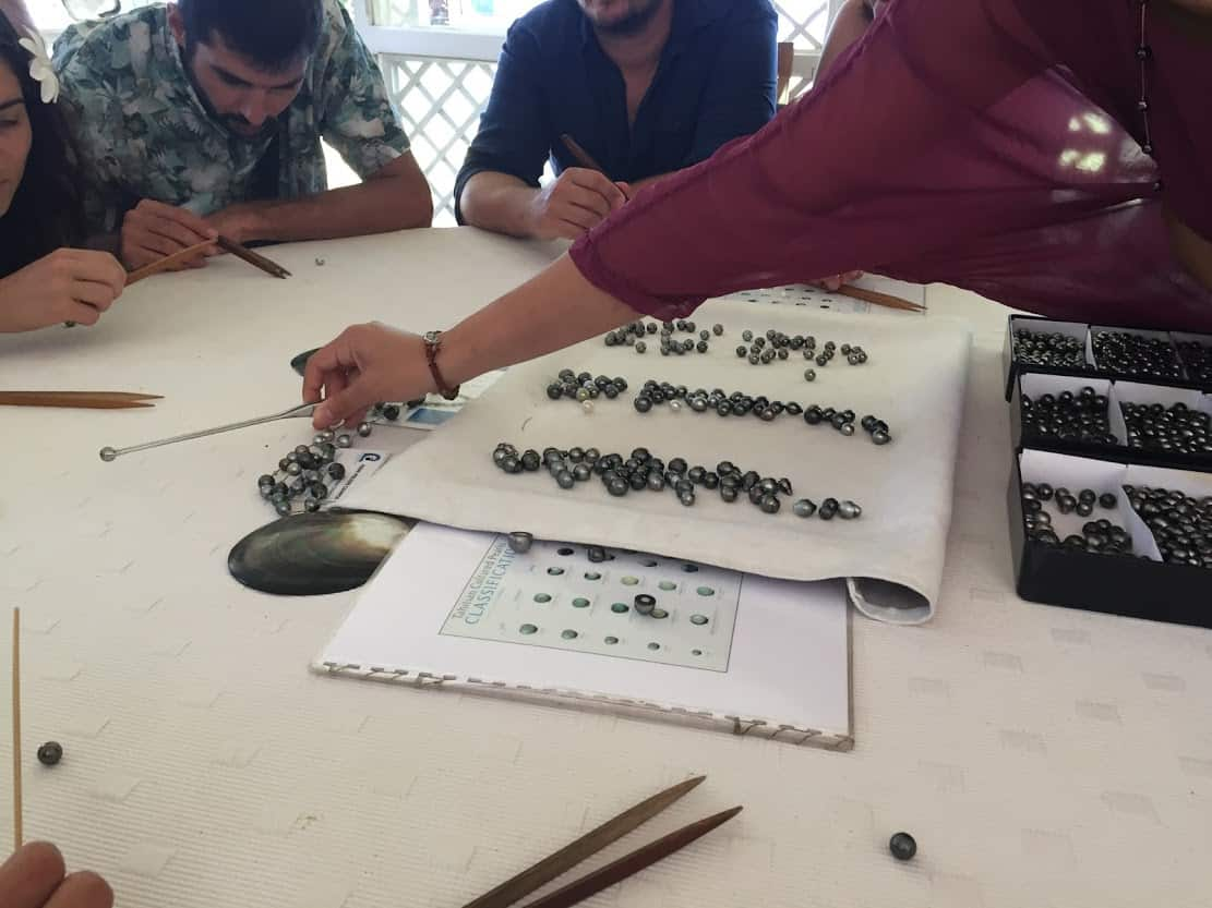 Pearl selection at Champon Pearl Farm on Taha'a.