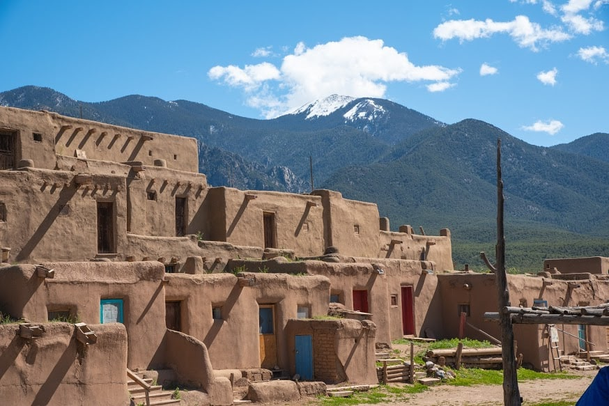 Taos Pueblo with Sangre De Cristo Mountains. Fred Mays photos.
