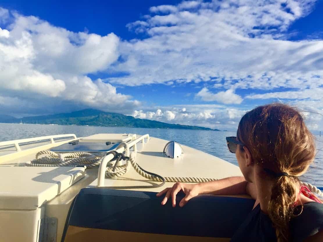 On the lagoon traveling south from Tah'a toward Raiatea.