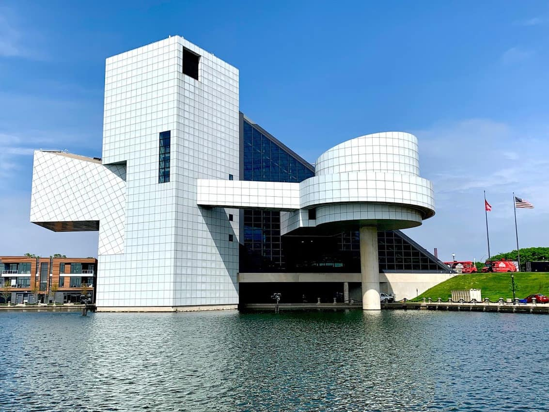 The back side of the I.M. Pei designed Rock and Roll Hall of Fame building is as impressive as the front.