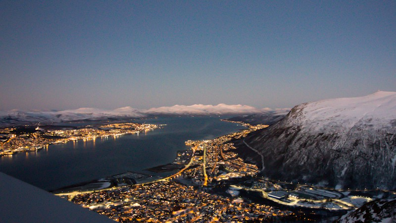 Panoramic views from high above offer a view of Tromsø and beyond at Fjellheisen in Lapland.