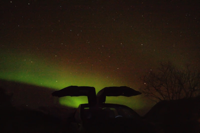 Northern Lights hunting in Lapland in the style and comfort of a Tesla X, naturally.