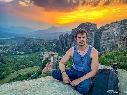 Cato Rolea with a Meteora sunset.