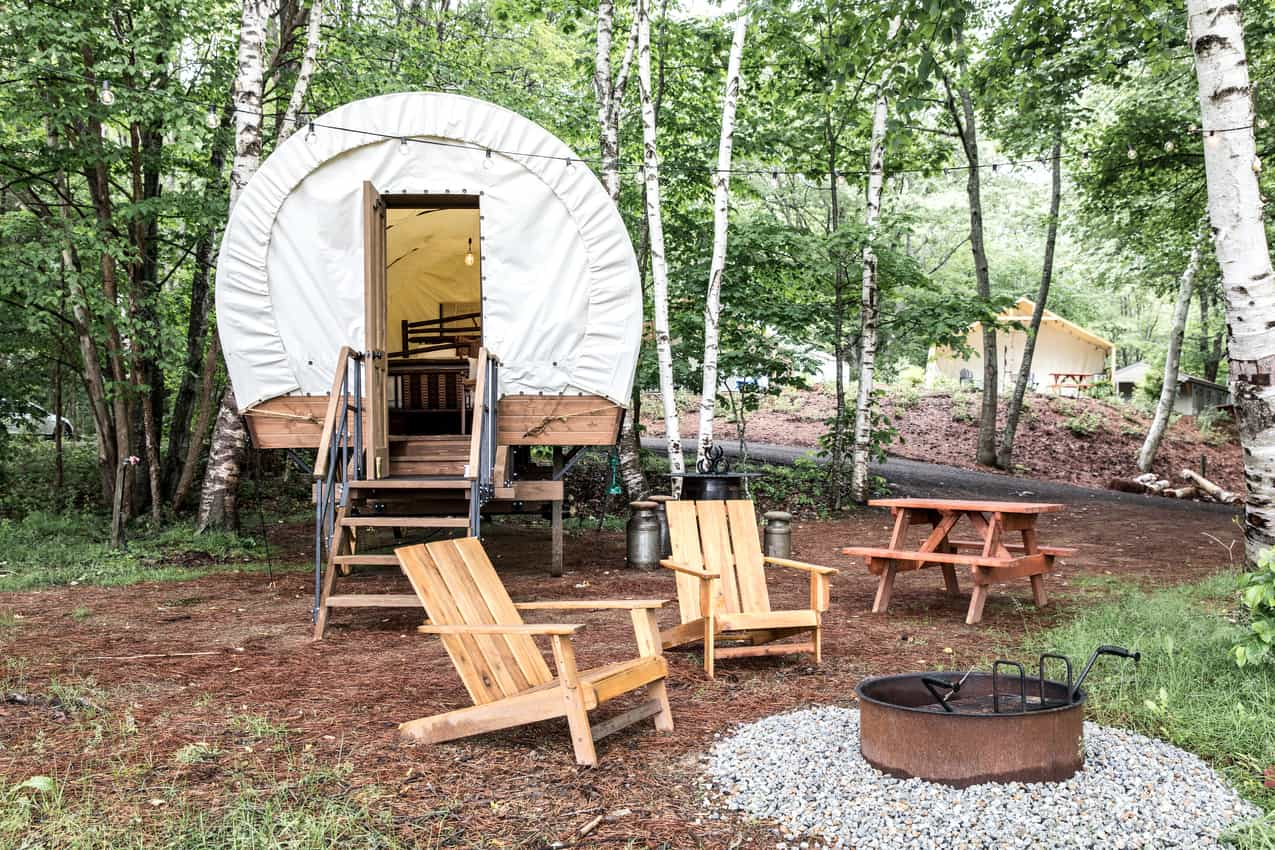 These Conestoga Wagon themed tents are very popular at Sandy Pines Camping.