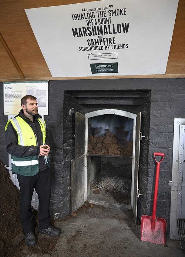 At the heart of the distillery smolders a fire fuelled by peat, which not only gives Islay Scotch its flavour profile, but in many parts of the United Kingdom also heats homes.