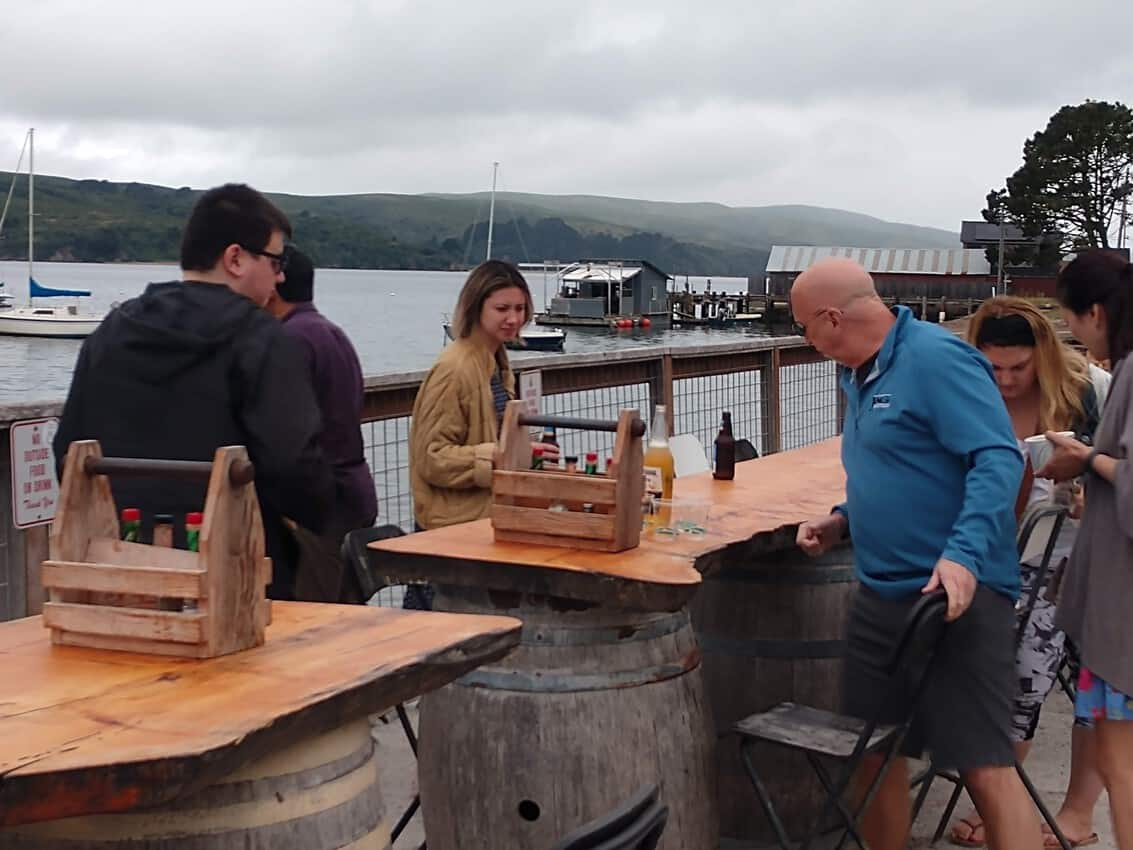 Oysters can be enjoyed right by the water in Tomales Bay, California.