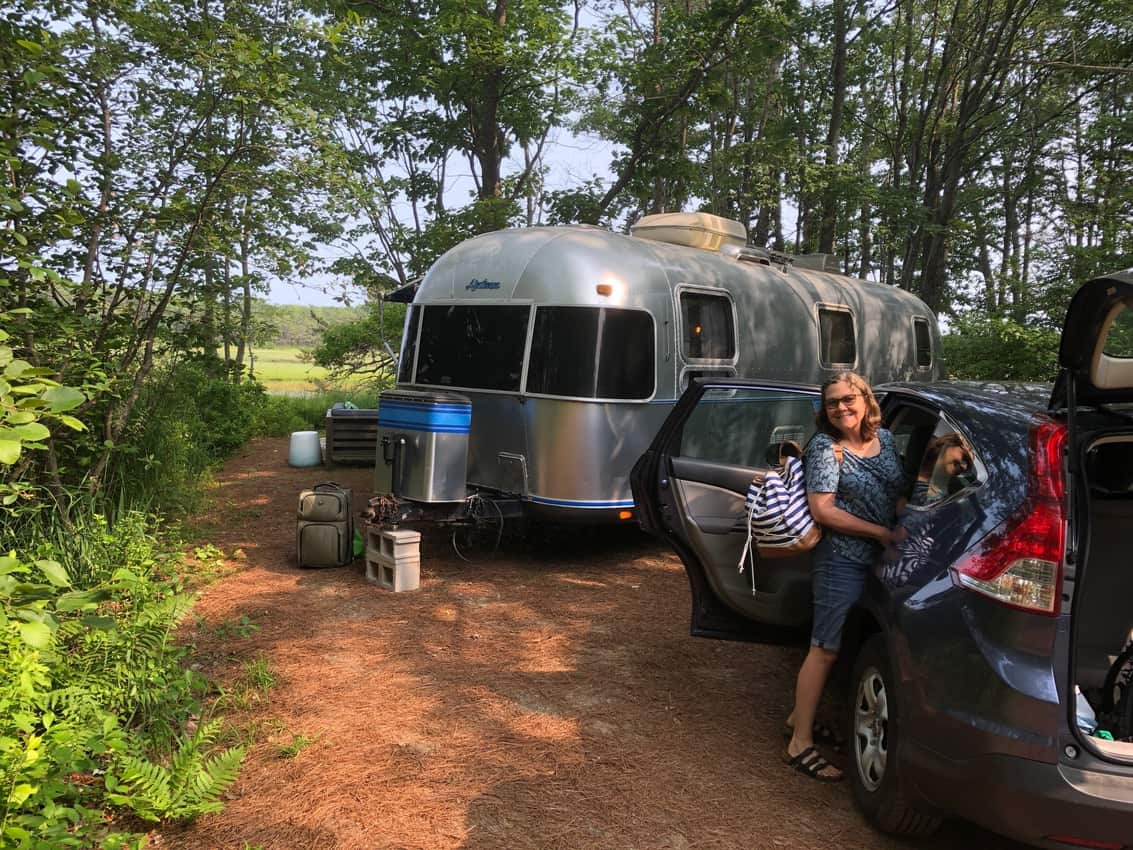 The Airstream site. Sandy Pines Camping, Maine
