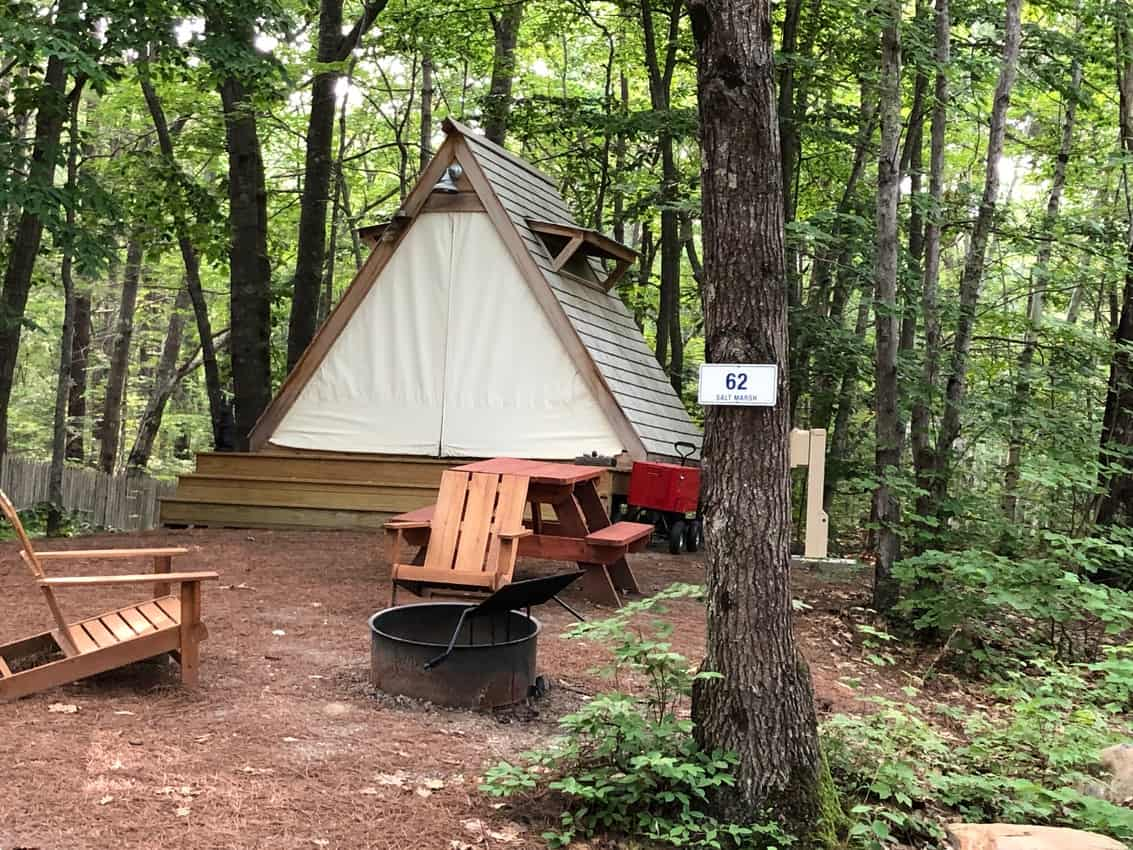 A-Frame camping site at Sandy Pines, Kennebunkport Maine