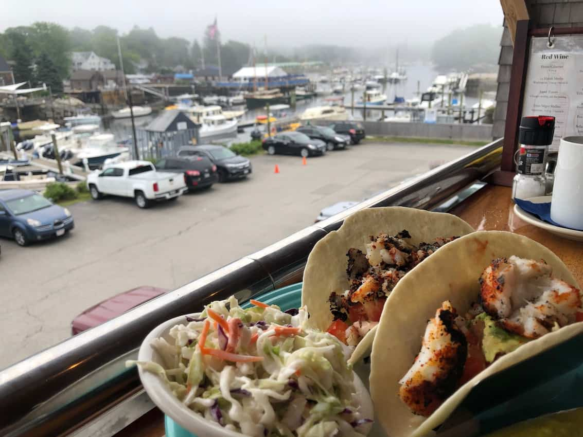 Delish fish tacos at Federal Jack's in Kennebunkport, Maine.