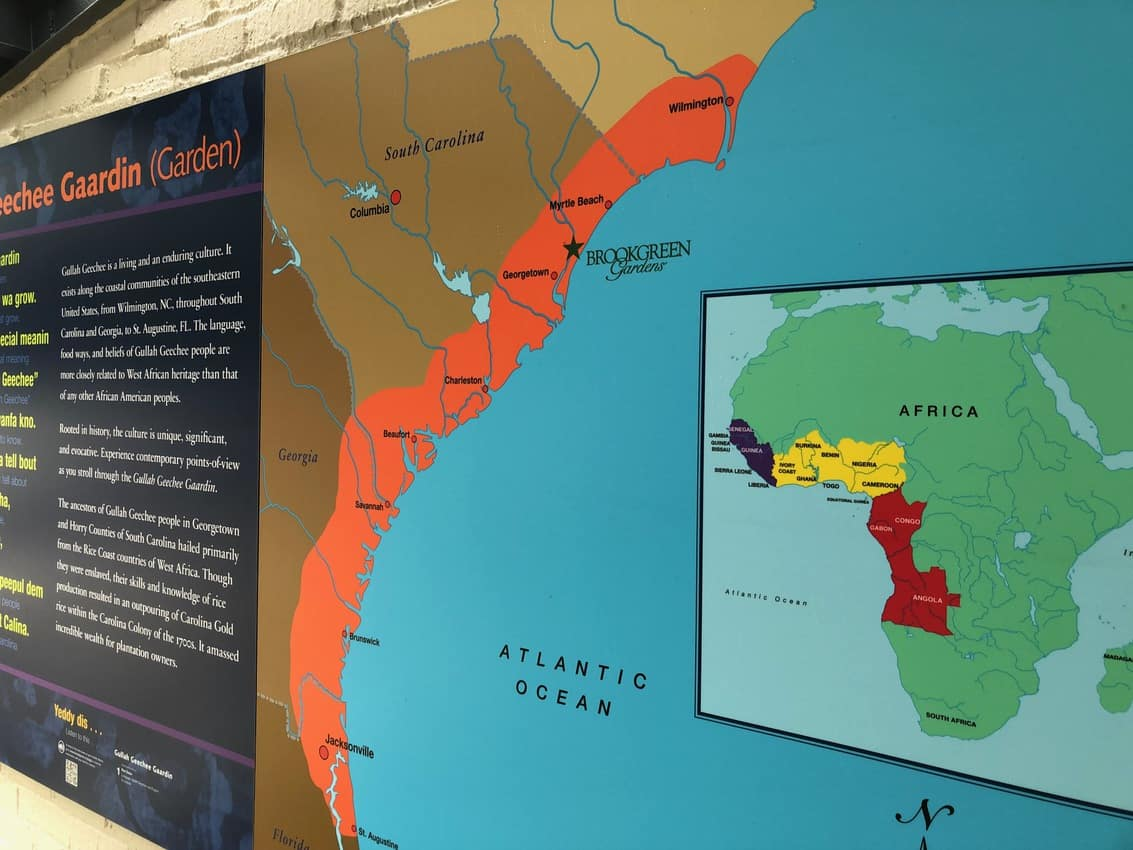The red area shows where the Gullah Geechee culture thrived and still exists today.