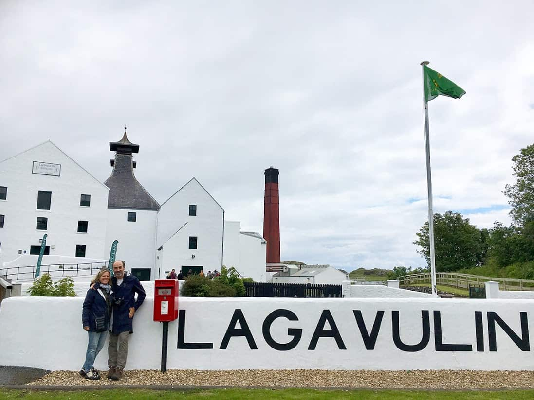 Before leaving us, our three young friends from NY offered to take a picture of Sue and me outside Lagavulin. Please note the smile on my face that couldn't be removed for the entire day.