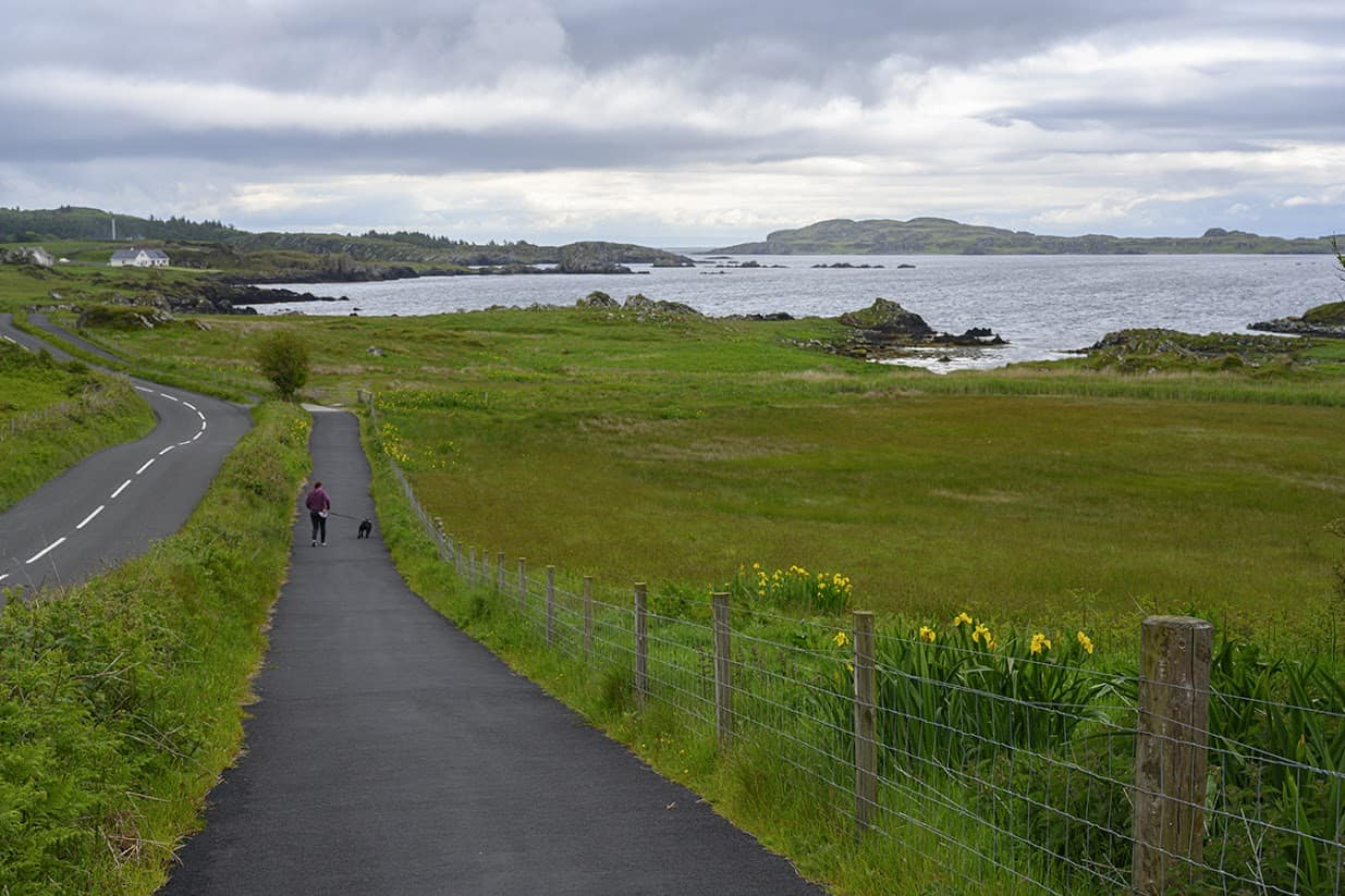 The asphalt path that follows the coast of Islay is picturesque no matter what corner you turn. This path is consistently easy for the entirety of the Three Distillery walk.