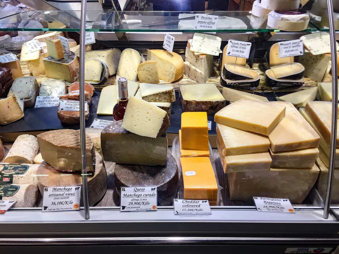Cheese at the Victor Hugo Market in Toulouse, France.