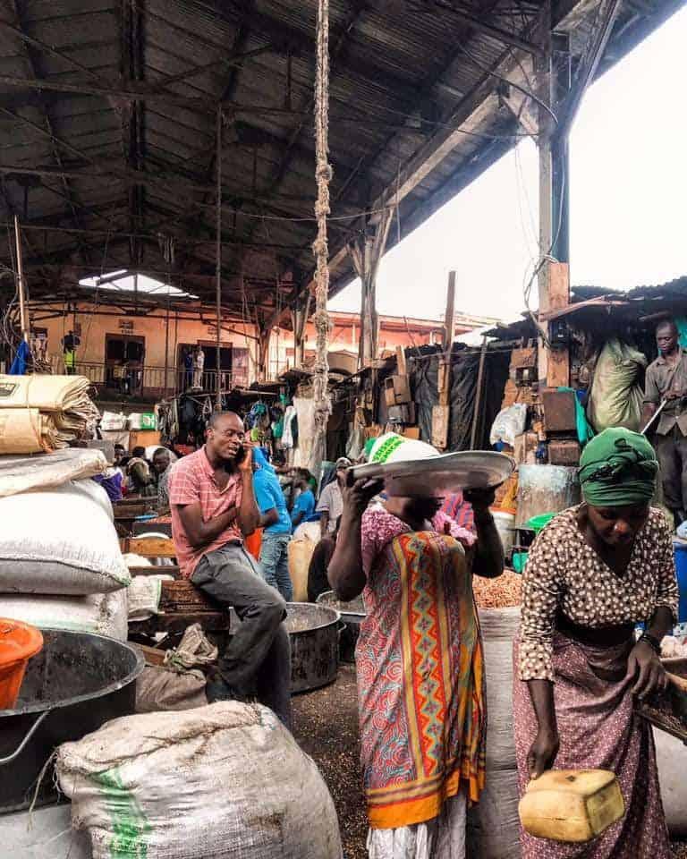 Making gnuts at Owino Market, Kampala