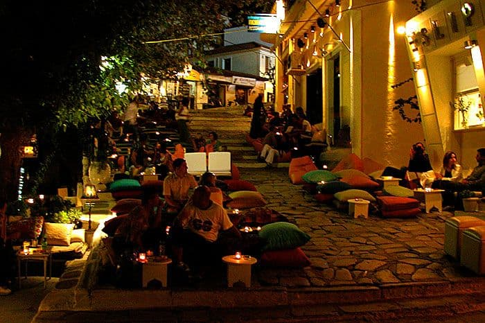 Nighttime in Skiathos town.