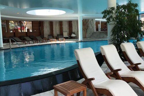 Indoor pool at the Adler Spa Resort Dolomiti.