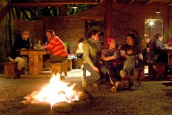 The fire pit in the middle of the Adobe Restaurant, a common feature in the restaurants in San Pedro de Atacama. photo by Paul Shoul.