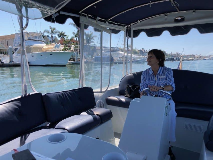 Carolyn Clark in a Duffy Boat in Newport.