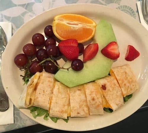 A quesadilla for kids at Wilma's Patio, Newport center.