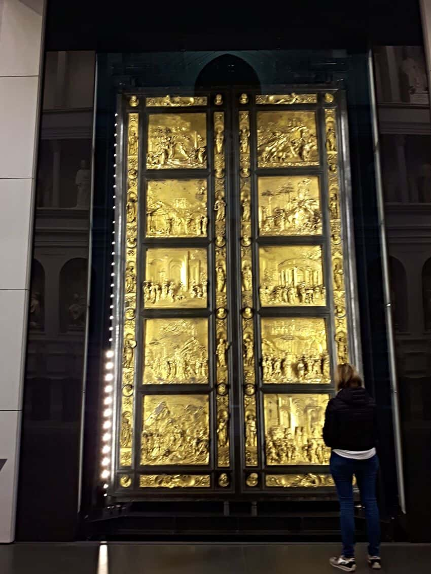Ghiberti's Gates of Paradise gleam on at the Opera Museum in Florence Italy.
