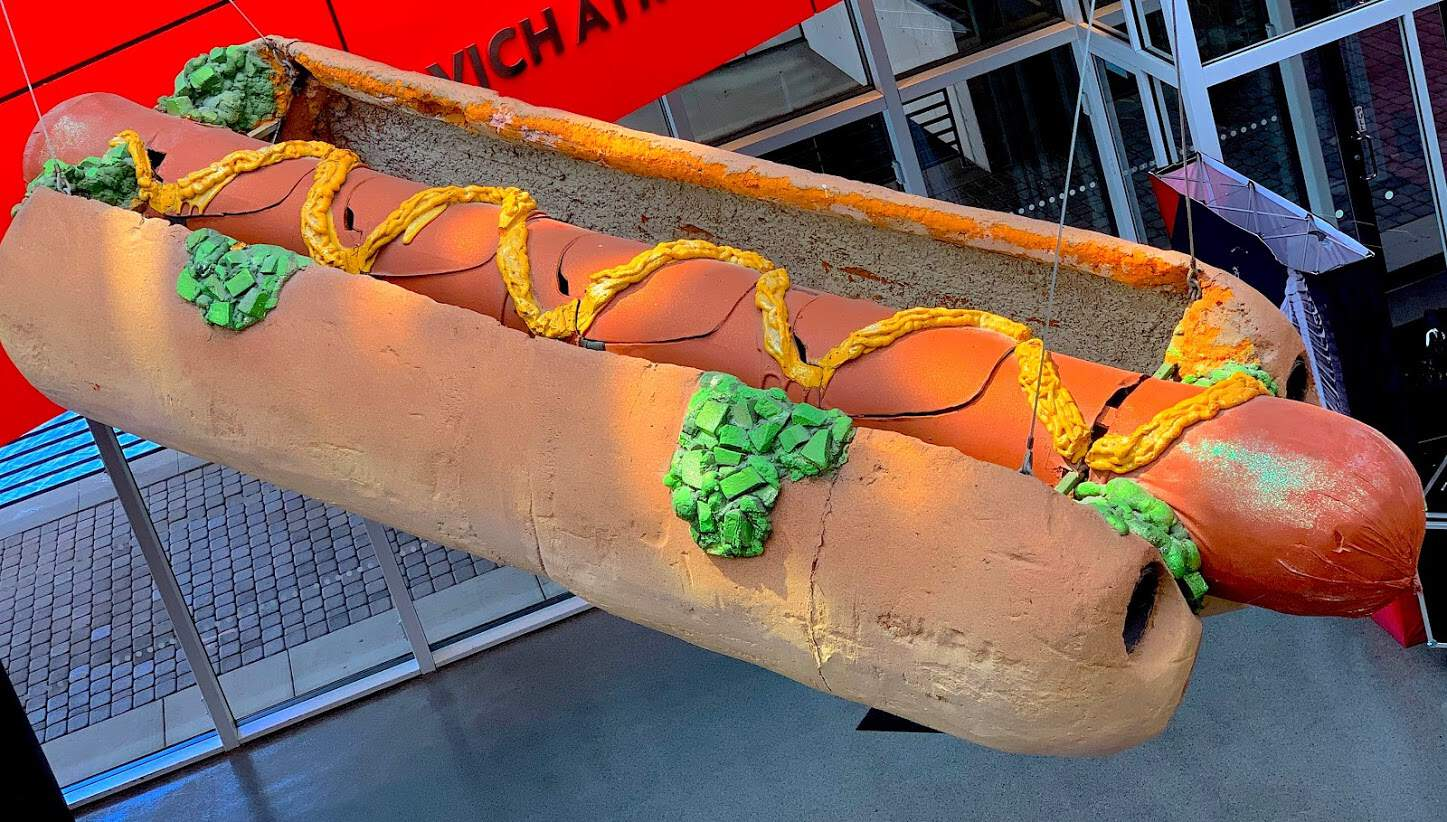 Phish flew above the audience in this gigantic hot dog at Boston Garden on New Year's Eve 1994.