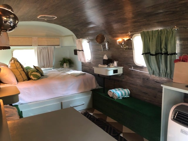 Inside the Airstream at Sandy Pines Camping. Glamping.