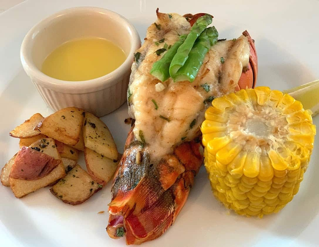 A lobster tail dinner was correctly prepared and delicious on Victory Cruise Lines.