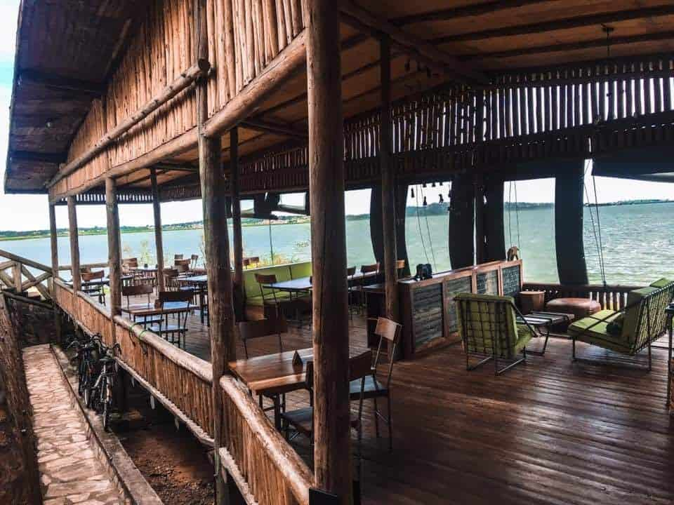 Wonderful lodge in Entebbe looking over Lake Victoria