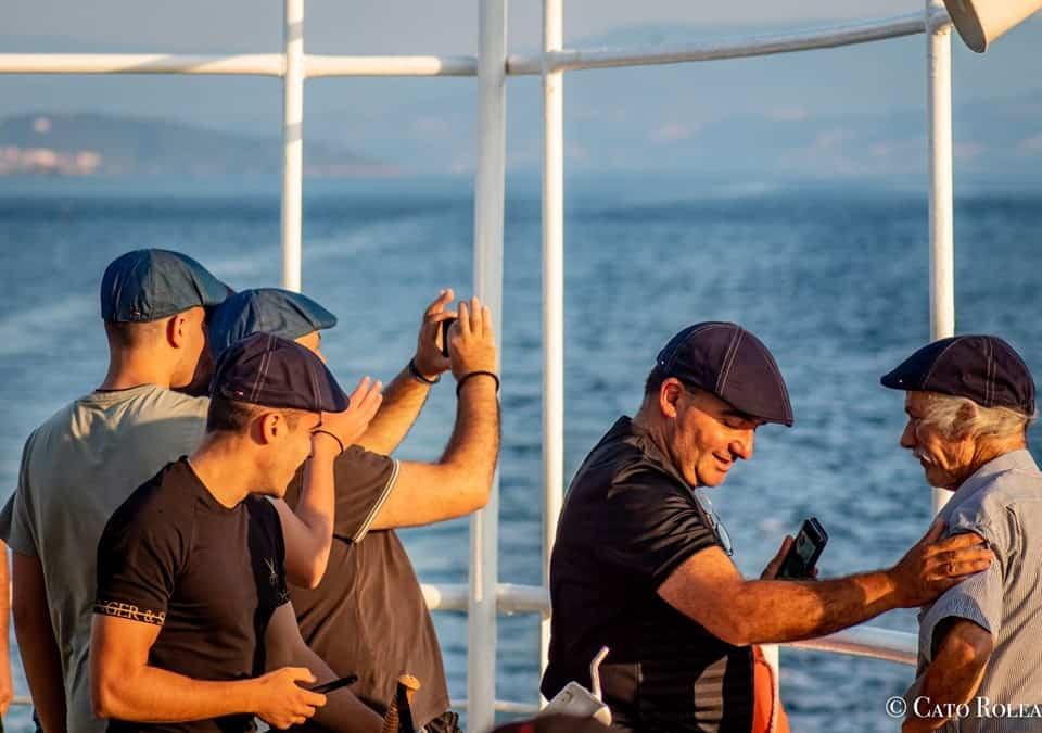 Pilgrims on the ferryboat.