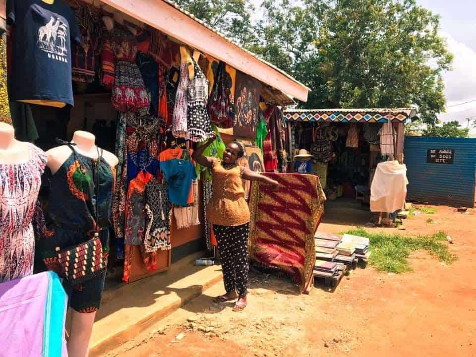 Visiting a market in Uganda.