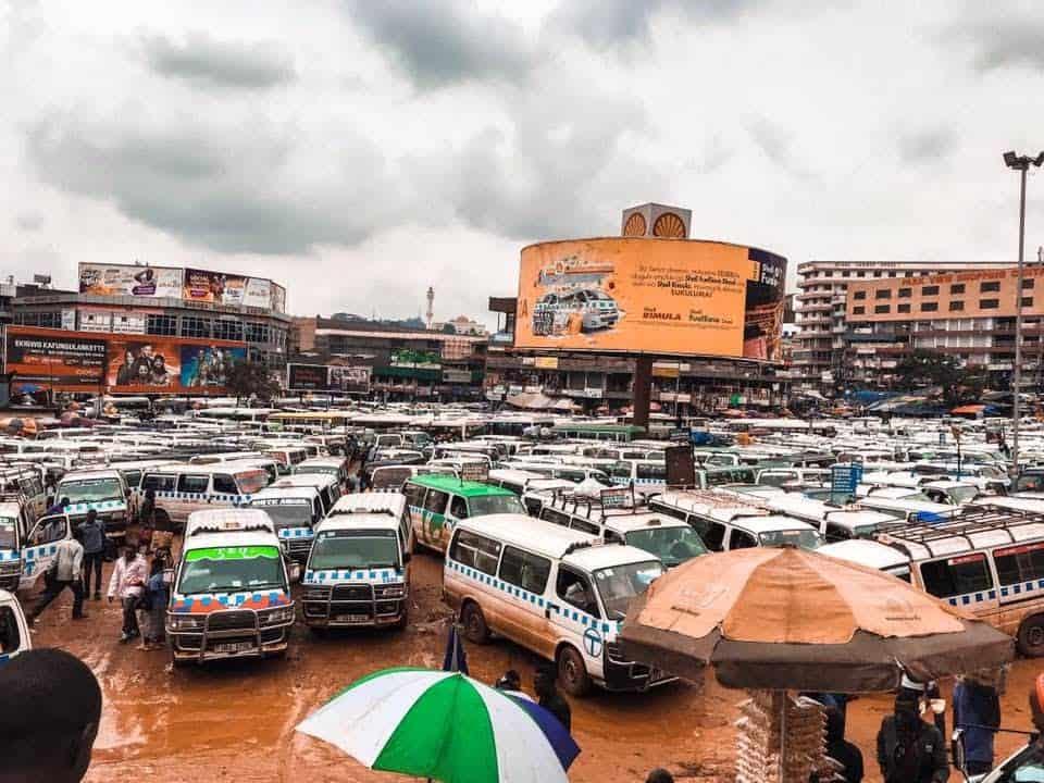 Minibus parking in Kampala, Uganda.