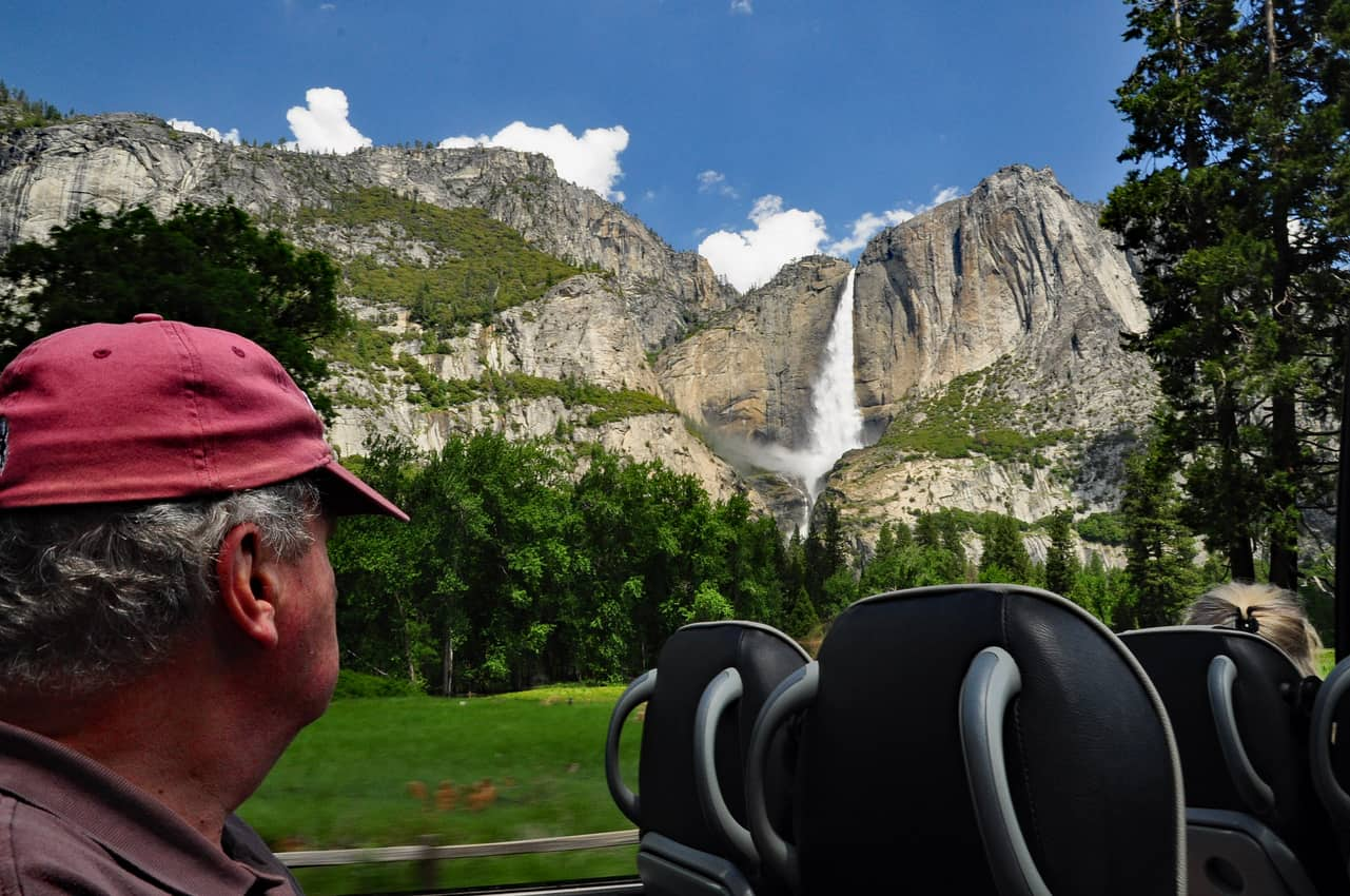 An open-air van owned by Tenaya Lodge at Yosemite takes guests on tours of the national park. Katherine Rodeghier photos.