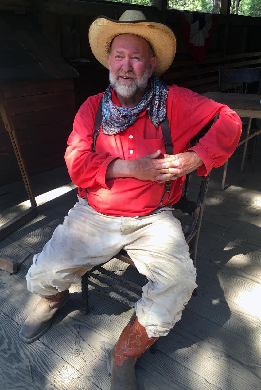 "Burrel ""Buckshot"" Rambo Maier drives the stagecoach at Pioneer Yosemite History Center."