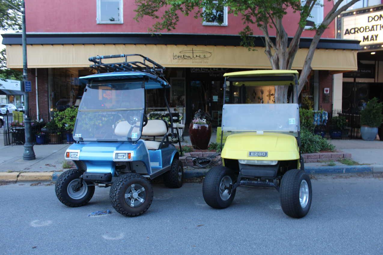 Golf carts in Cape Charles. Delmarva Peninsula