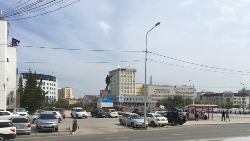 Lenin Square in Yukutia, Russia.