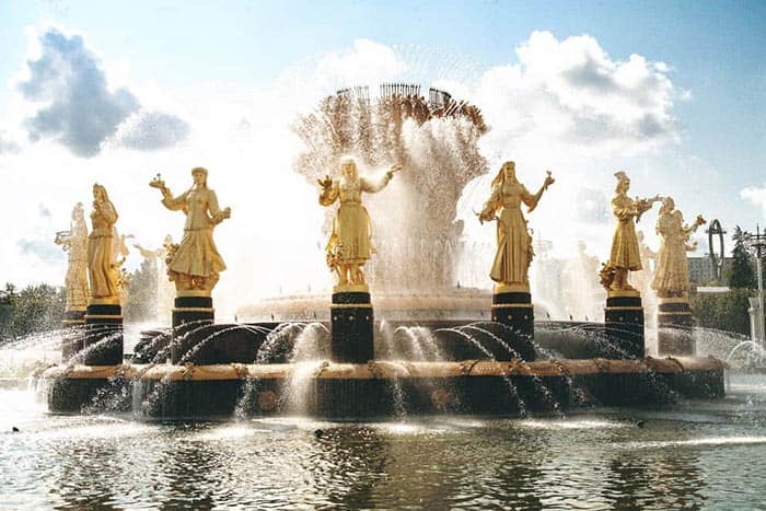A fountain at the VDHN center in Moscow, which was highlighted in this year's Moscow City Day.