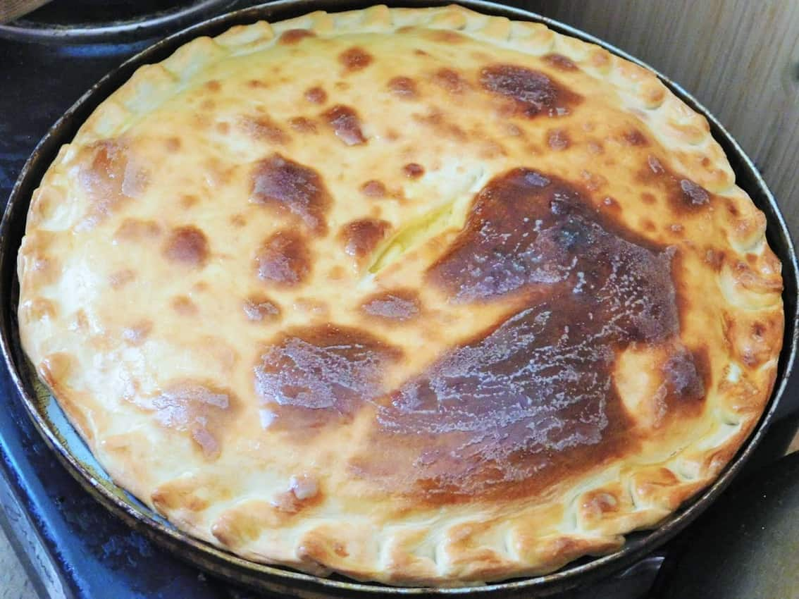 Traditional Ossetian pie with cheese