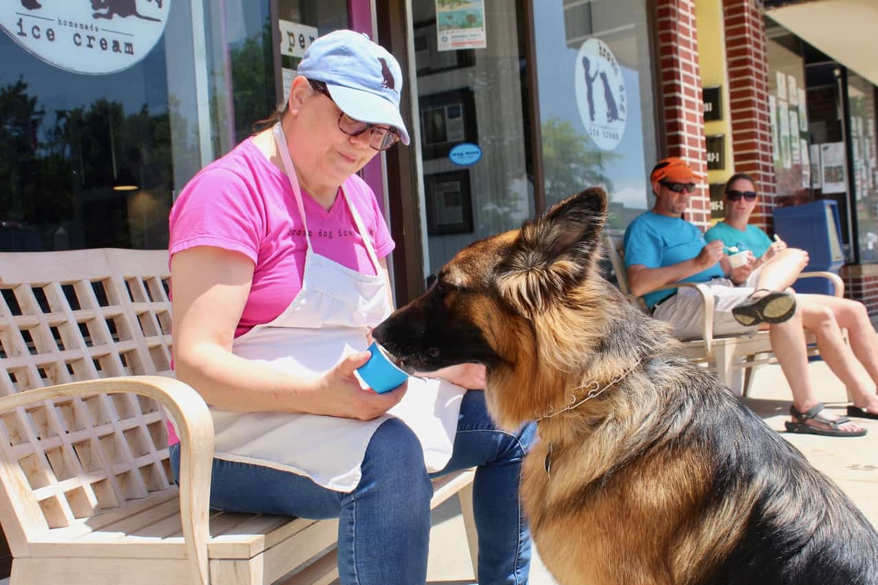 The author's dog being fed Brown Dog Ice Cream. Delmarva Peninsula