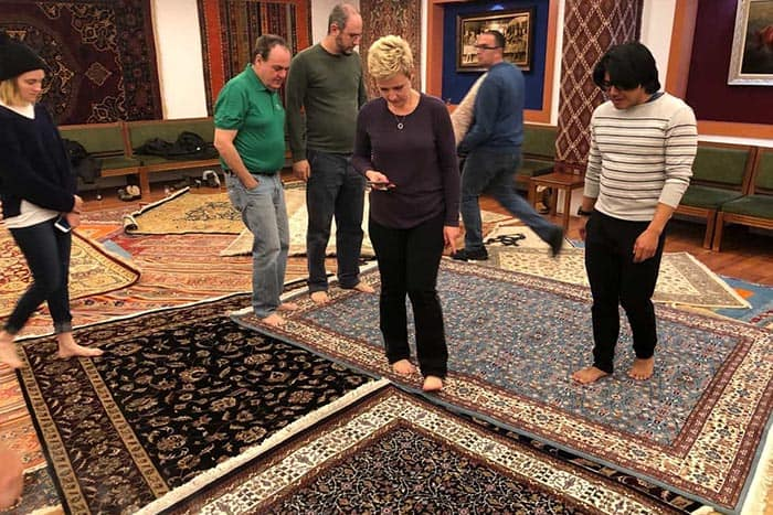 Checking out carpets in Cappadocia, Turkey.
