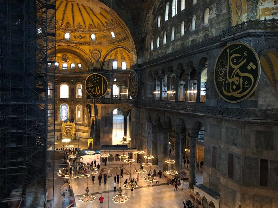 Inside the Hagia Sofia, one of the impressive sites of Istanbul, Turkey.