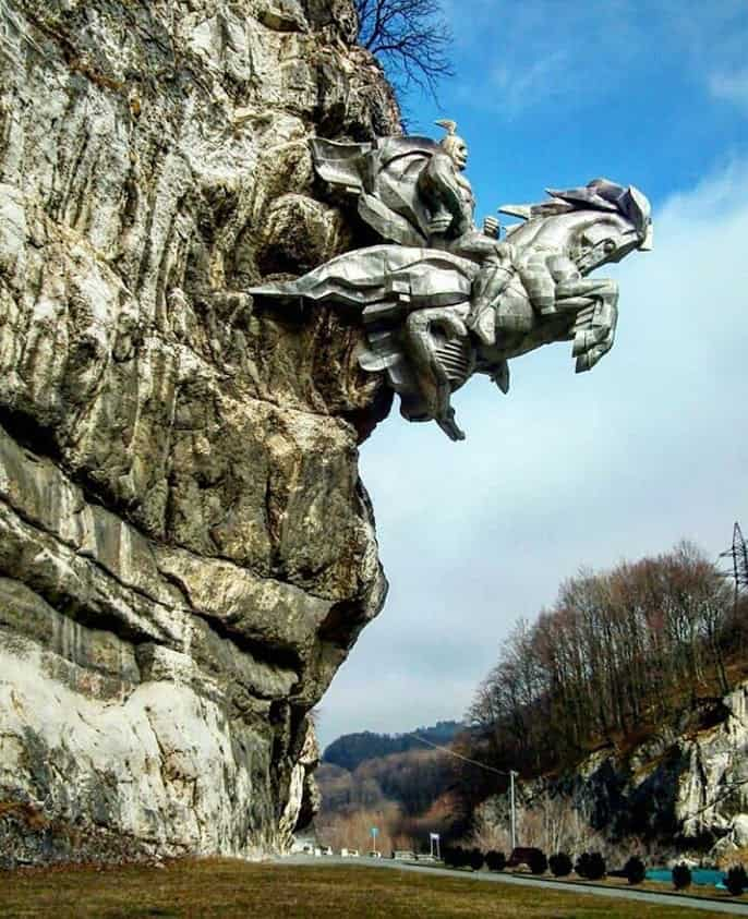Statue Saint George Is Coming Out Off The Rock, (Statue of Saint Uastirji Is Coming Out Off The Rock) Alagir, North Ossetia