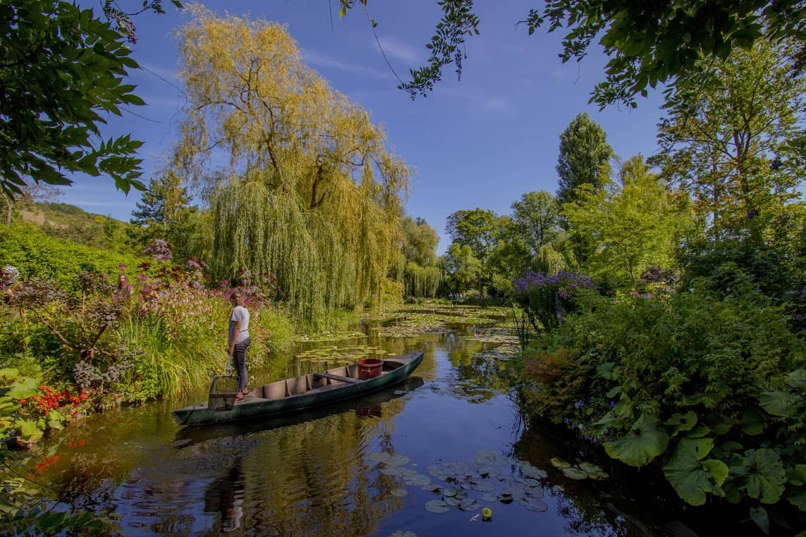 The lovely river scene in Giverny, France.