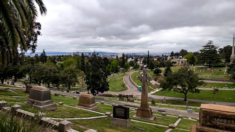A misty morning begins to lift to reveal vistas of the San Fran Bay at Mountain View Cemetery and Parks area.