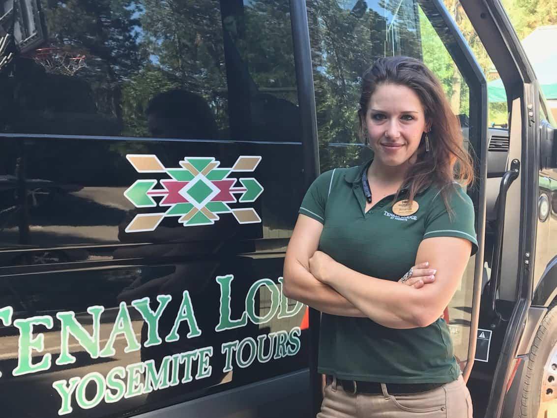 Amanda Von Raeder leads tours of Yosemite in an open-air vehicle operated by Tenaya Lodge at Yosemite.